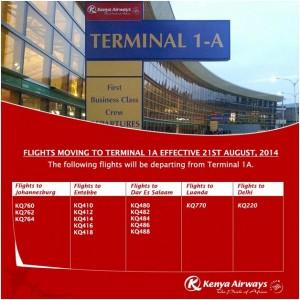 KQ Flights terminal A1